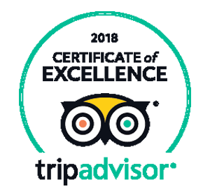 2018 & 2019 Certificate of excellence from TripAdvisor