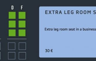 Extra leg room seat in a business class
