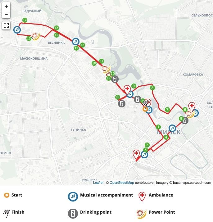 Minsk Half-Marathon 2020 Route
