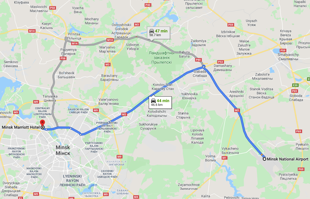 Route from Minsk Airport to Marriott hotel