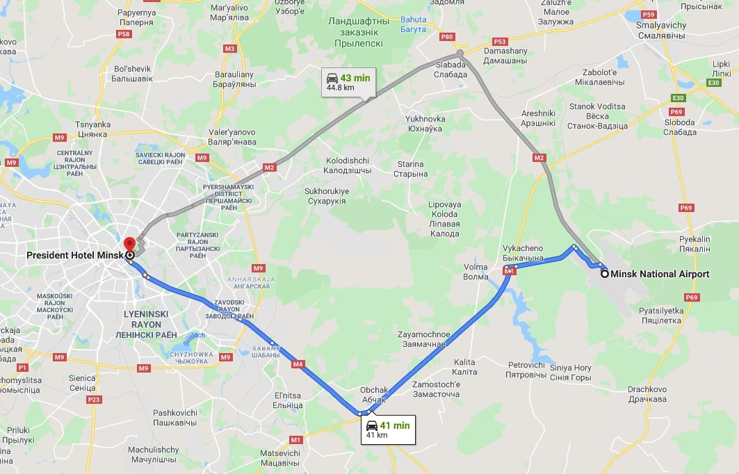 Route from Minsk Airport to President Hotel