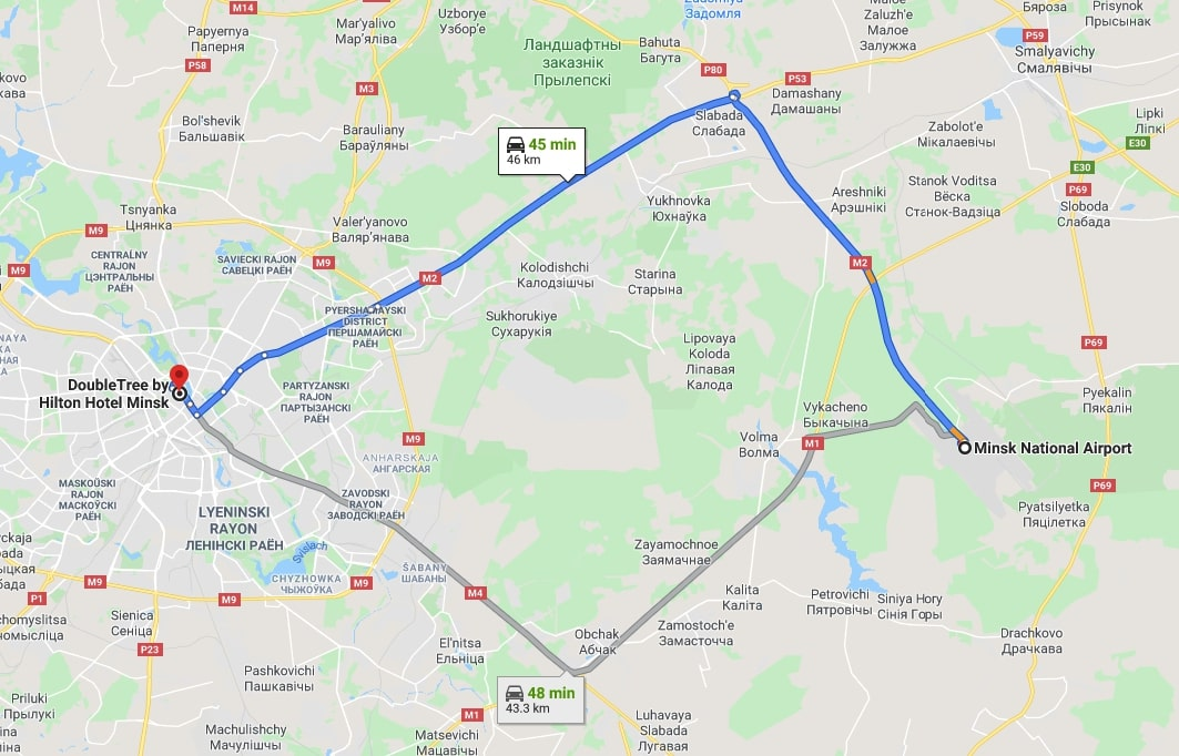 Route from Minsk airport to DoubleTree by Hilton hotel Minsk
