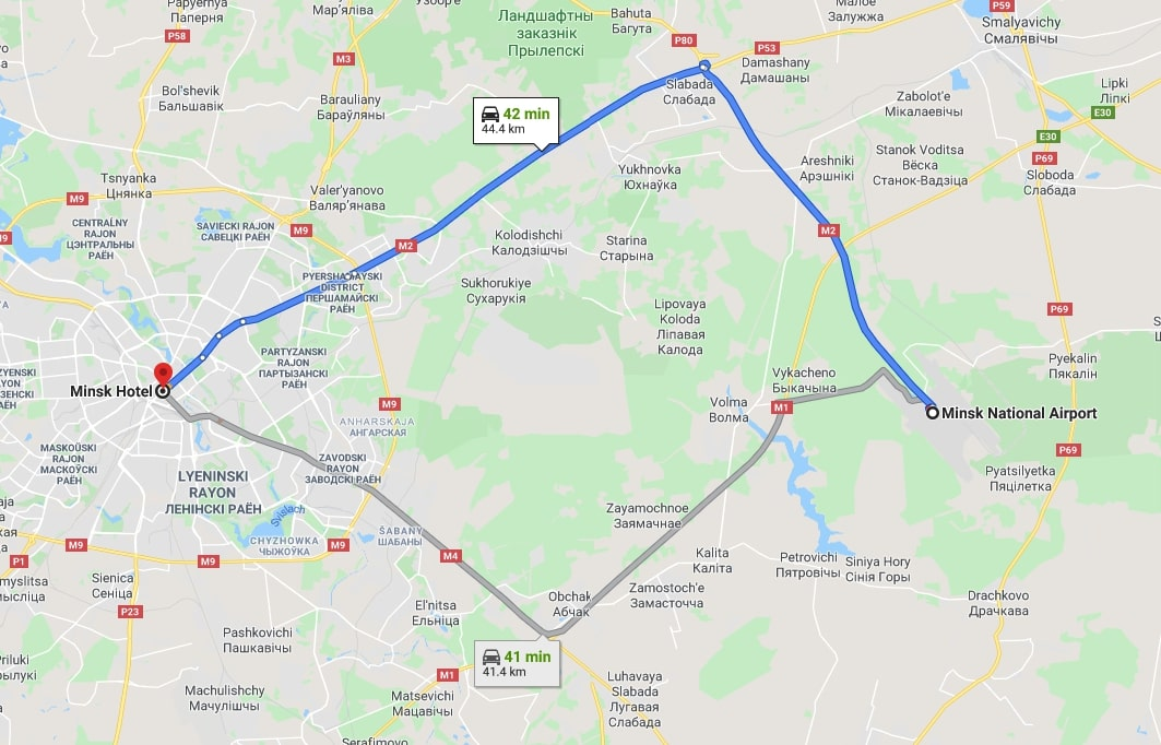 Route from Minsk airport to Minsk hotel
